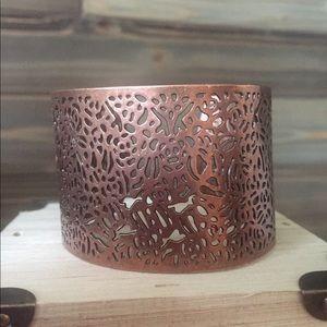 Copper Bronze Scrollwork Cuff Bracelet
